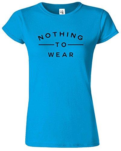 Nothing To Wear Du Nouveau Slogan élégant drôle Dames TShirt Cadeau Saphir / Noir Design