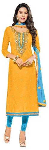 Vaidehi Fashion Yellow Chanderi Semi-Stiched Embroidery + Handwork Suit