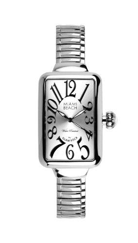 Glam Rock 0.96.3002 - Reloj analógico de cuarzo para mujer, correa de acero inoxidable color plateado