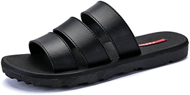Juans shoes  Herren Sandalen  Männer Pool Slide Leder Vamp Slip on Slipper bis Größe 45 (Color : Black  Size :
