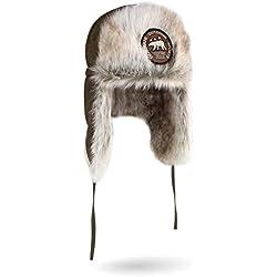 normani Unisex Wintermütze Winterkappe Arctic Ursa aus Synthetik-Pelz mit Ohren- und Nackenwärmer Farbe Oliv Größe L/59
