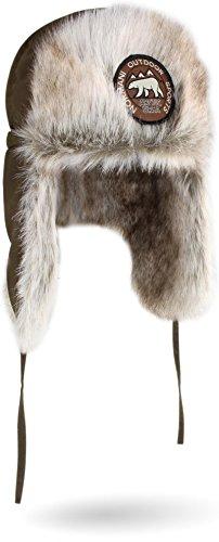 normani Unisex Wintermütze Winterkappe Arctic Ursa aus Synthetik-Pelz mit Ohren- und Nackenwärmer Farbe Oliv Größe S/55