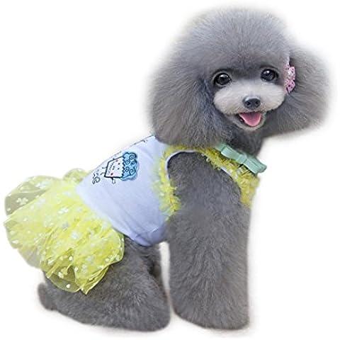 Ouneed® Pet Vestito Dal Cucciolo Del Gatto Del Cane Vestiti Freddi Della Maglia Maglietta Costume (Giallo , XS)