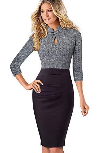 MisShow Midi Kleider Damen 1950er Jahre Businesskleider Etui Stretch Kleid Midi-Arm Cocktailkleid Festliches Partykleider Grau Gr.L (Damen 1950er Jahre Kostüm)