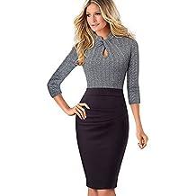 e452df06069f4f MisShow Damen Elegant 3/4 Arm Stehkragen Bodycon Etuikleider Business  Kleider Bleistiftkleid Stretch Knielang