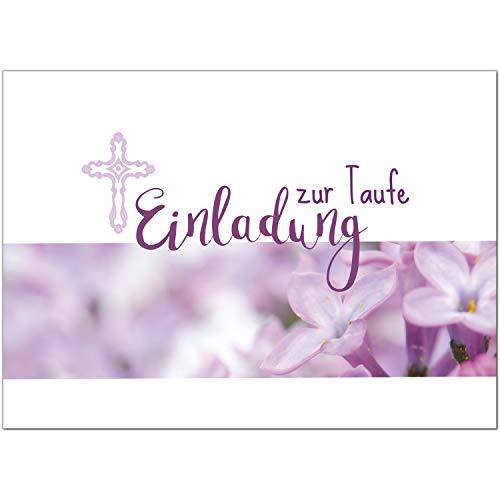15 x Einladung zur Taufe/Einladungskarten mit Umschlag im Set/Motiv: Rosa-Pink Blumen Einladung/Baby Taufkarte/Grußkarte/Postkarte /