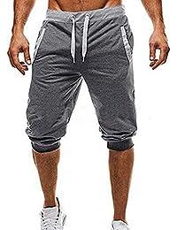 LuckyGirls Hombre Pantalones de Longitud de Becerro Jogging Pants  Deportivos Cintura Elástica (M bed542f0311f