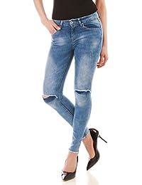 La Modeuse - Jeans coupe skinny délavé et troué aux genoux
