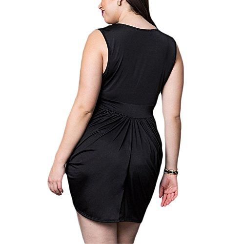 iBaste Sexy Kleider Damen V-Ausschnitt Ärmellos Bodycon Minikleid Knielang Partykleid Abendkleider Cocktailkleid (Übergröße XL-3XL) Schwarz