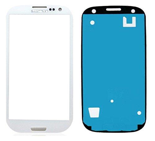 Vetro per display frontale LCD touchscreen per Samsung Galaxy S3 i9300, i9305, con pellicola adesiva, colore: bianco