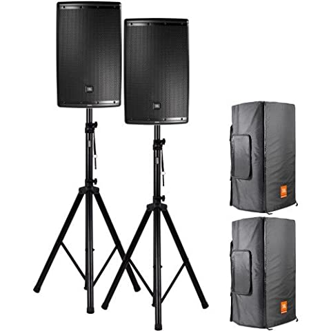 JBL EON 615 Aktive Lautsprecher + Stative + Wetterschutzhüllen Set 2