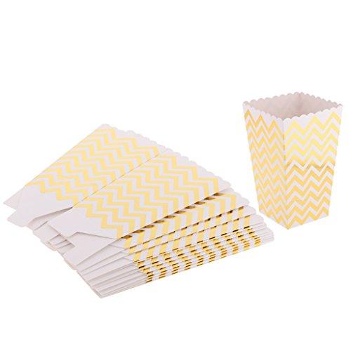 MagiDeal 12 Stück/Packung Hochzeit Popcorn Boxen Süßigkeiten Taschen - Gold Welle (Popcorn Von Taschen)
