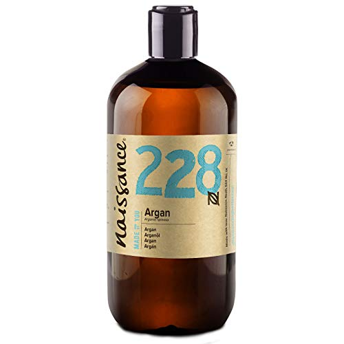 Naissance Argan Vegetable Oil of Morocco n. º 228 - 500ml - Pure, natural, vegan, without hexane and not GMO - Natural hydration for the face, hair, beard and cuticles.