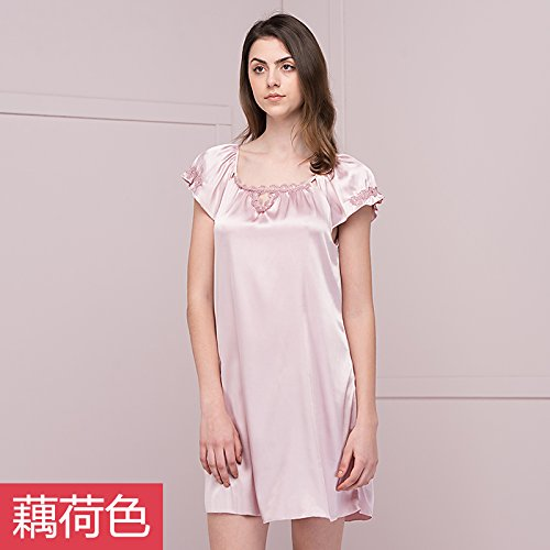 Pyjama de dentelle Ladies court ¨¤ manches longues Poly/coton Nightdress mode ¨¦t¨¦ Accueil jupe robe Pale pink