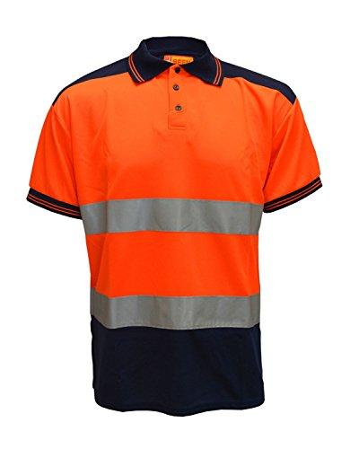 Fast Fashion Hi viz Marinekragen Sicherheits Arbeitskleidung Hoch Visability Polo T Shirt Orange/Navy