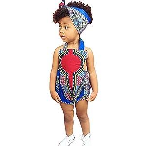 HEETEY Pijama para niña, para niños pequeños, con Estampado Africano, sin Mangas, con Cinta para el Pelo, Ropa para recién Nacidos, Juego de Pelele, Ropa para bebé 14