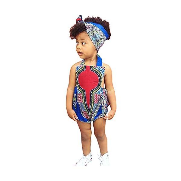 HEETEY Pijama para niña, para niños pequeños, con Estampado Africano, sin Mangas, con Cinta para el Pelo, Ropa para… 1
