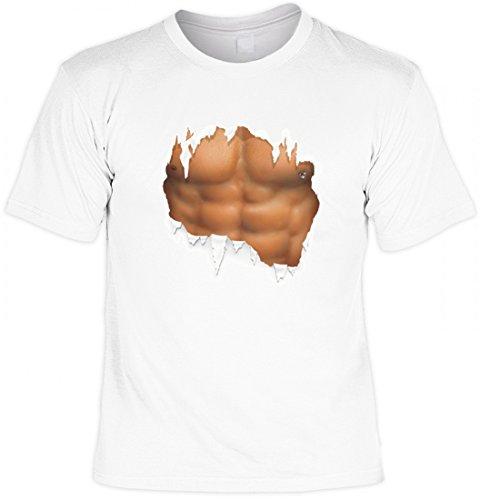 Witziges T-Shirt mit Sixpack - Waschbrettbauch - lustiges Funshirt für Bodybuilder, Größe:M