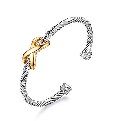 Cupimatch Infinity Armreif Unendlichkeit Armband Edelstahl Herren Damen Unisex 19cm, Gold