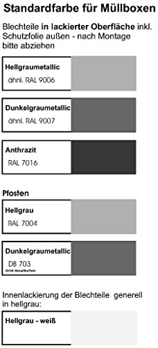 Metall Mülltonnenbox für 4 Tonnen RAL grau / anthrazit, Müllcontainer, Müllbox. Made in Germany. # Größe: Für 4 Tonnen bis 240 l # Farbe: Farbenauswahl per EMail angeben # Dach: Mit Klappdach # Stanzung: ST 3/5 - 2