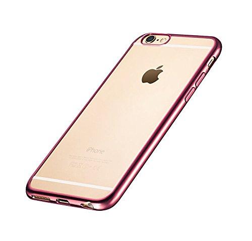 Minto iPhone 6 Plus/ 6s Plus Hülle, 0.8mm Ultradünne mit Überzug Farbig Rahmen Silber TPU Schutzhülle Weiche Silikon Transparent Case Cover für iPhone 6 Plus / 6S Plus Pink -i6 plus