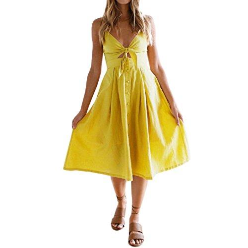 Damen Minikleid, Sannysis Damen Urlaub Bowknot Lace Up Damen Sommer Strand Buttons Party Kleid...