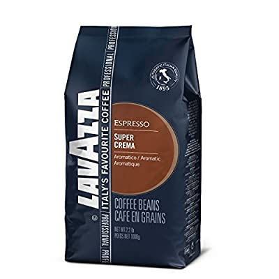 Lavazza Coffee Espresso Super Crema, Whole Beans, Pack of 8, 8 x 1000g
