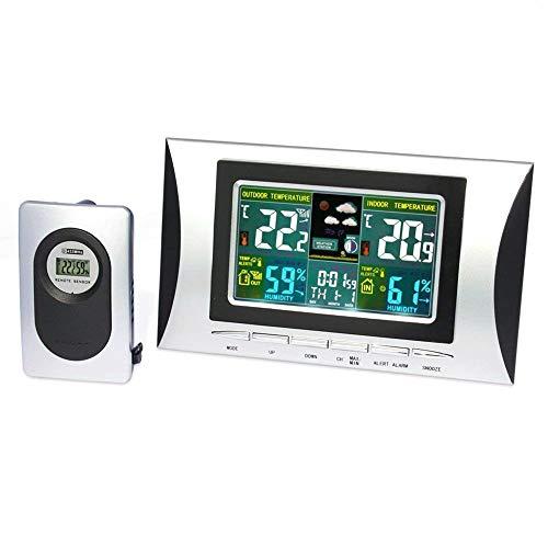 ISWEES Funk Wetterstation mit Farbdisplay,inkl. Außensensor, DCF Empfangssignal,Innen - und Außentemperatur und Hygrometer,Wettervorhersage Piktogramm für Zuhause,Schlafzimmer,Büro