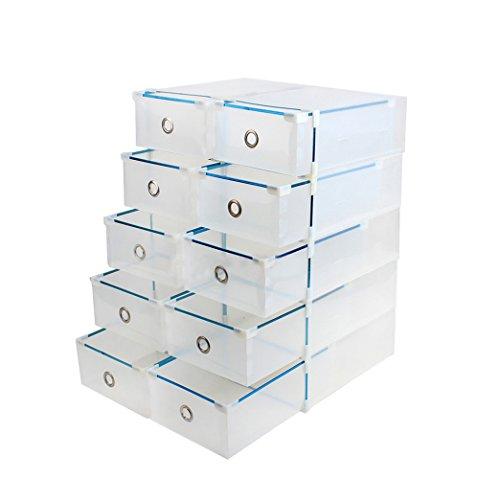 Vinteky 10 x Scatola Porta Scarpe, Uomo/Donna, Salvaspazio, Trasparente
