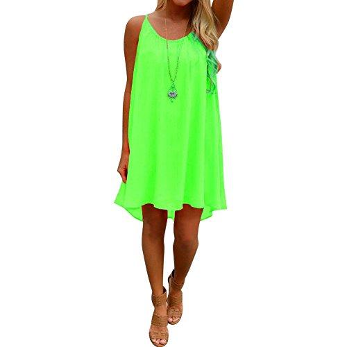 West See Damen Frauen Sommerkleid StrandKleid Ärmellos Rückenfrei Minikleid Chiffon Träger Grün