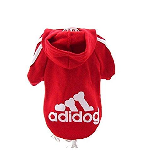 """KayMayn Hunde-Pullover mit Kapuze, mit Aufschrift \""""Adidog\"""", sportlicher Look, 7 Farben, in den Größen S bis 9XL Gr. XXXXL, rot"""