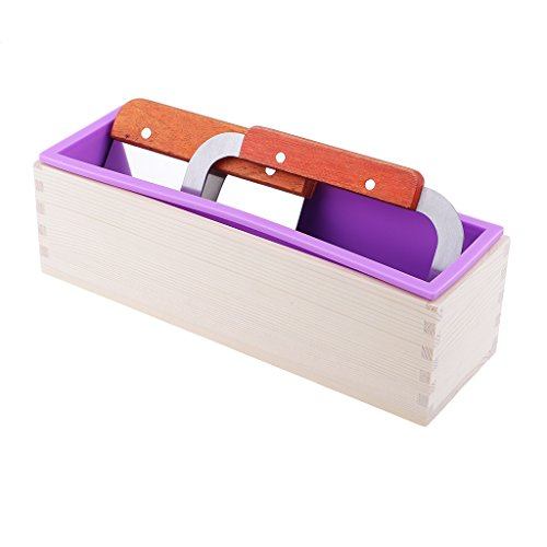 Homyl Wooden Silicone Soap Mold Soap Maker Loaf Rectangle Mould With Straight Wavy Soap Cutter Cutting Tools