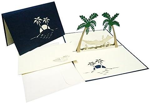 LIN - Pop Up 3D Carte de voeux pour la retraite, Hamac et palmiers (#121)