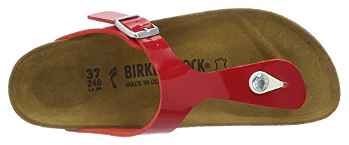 Birkenstock Gizeh Birko-Flor, Tongs Femme Rouge (Tango Red Lack)