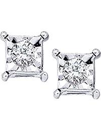 10kt oro blanco para mujer diamante redondo solitario cuadrado Stud Pendientes 1/20quilates (I2-I3claridad, J-K Color)