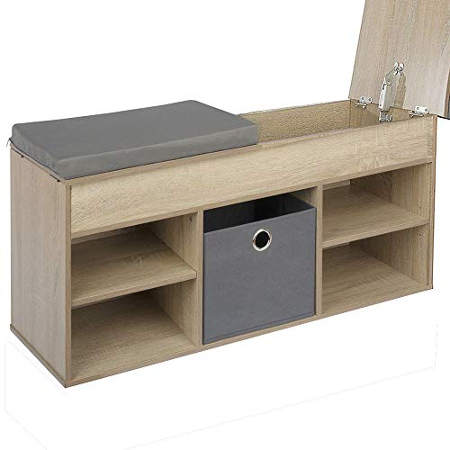 Limal Schuhbank mit Faltbox Schuhregal Schuhablage Schuhschrank Sitzbank Kissen Sonoma -