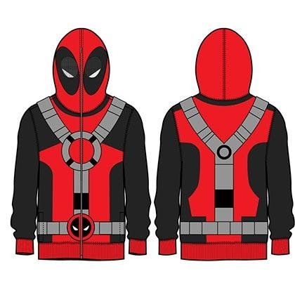 Deadpool Marvel Universe Kostüm Maske Men's Full Zip (Kostüm Hoodie Deadpool)