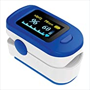 SenseQ by AccuSure Finger Tip Pulse Oximeter with OLED Display, CE0123 Certified(Blue color)
