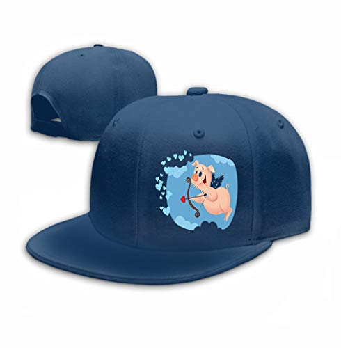 Kostüm Für Cupid Jungen - Cowboy Hat Fashion Baseball Cap for Men and Women Cupid Pig Funny Cartoon Sweet Character Flying Valen Navy