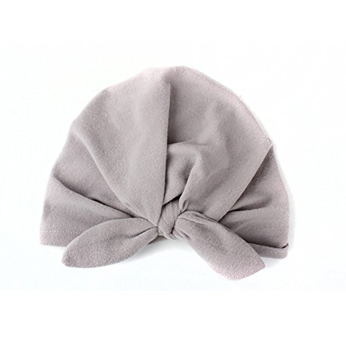Baby Cap Kids Baby Cotton Soft Turban Knot Hat Rabbit Ears Stretchable Cap (gray) 1pc