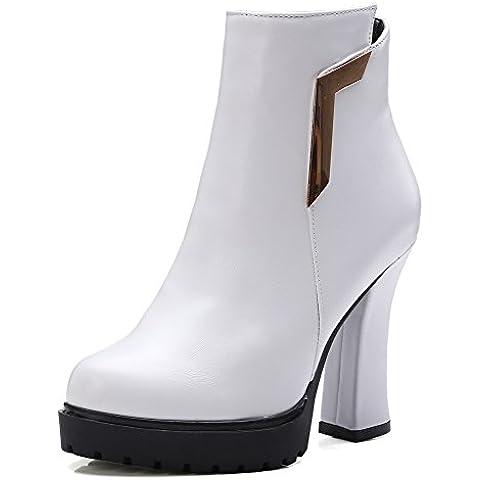 VogueZone009 Donna Cerniera Tacco Alto Puro Luccichio Bassa Altezza (I Migliori Donne Di Inverno Boots)