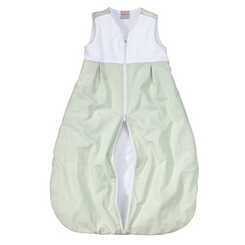 wellyou, Kinder-Baby-Schlafsack, mit Frottee gefüttert, grün-weiß Vichykaro, für Mädchen und Jungen, Größe 56-80