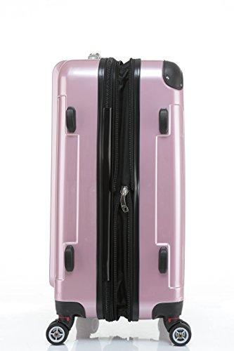 BEIBYE Hartschalen Koffer Trolley Rollkoffer Reisekoffer 4 Zwillingsrollen (Kofferset, Rosa) - 7