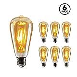 SEEDIQ® LED E27 Bombilla de Filamento Edison4W,LED Bombilla de Decorativa Blanca Cálida 2700K, Lámpara Retro en Casa,Café, Bar,Restaurante,Tienda-6Pack, Cristal.[Clase de eficiencia energética A+]