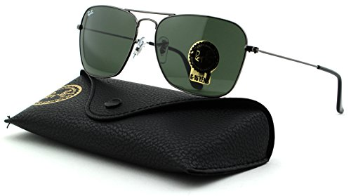 Ray-Ban RB3136 Caravan Unisex Metal Rectangle Sunglasses (Gunmetal Frame/Crystal Green Lens 004, 58)