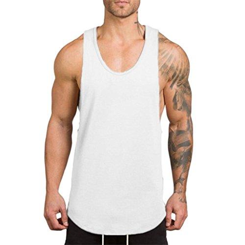 LuckyGirls Camisetas Hombre Sin Manga Verano Camisa Color Sólido Casuales Deportivas Músculo Gimnasios Polos Slim Remera (M, Blanco)