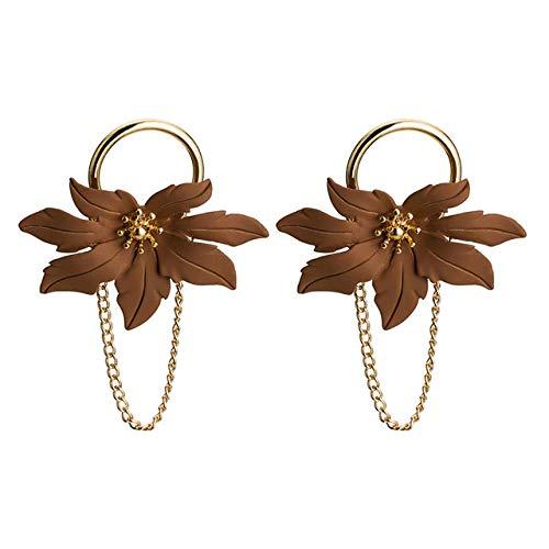 Ohrringe Elegante Lange Blumen Ohrringe Für Frauen Mädchen Einzigartiges Design Blumenkette Ohrringe Modeschmuck, Braun