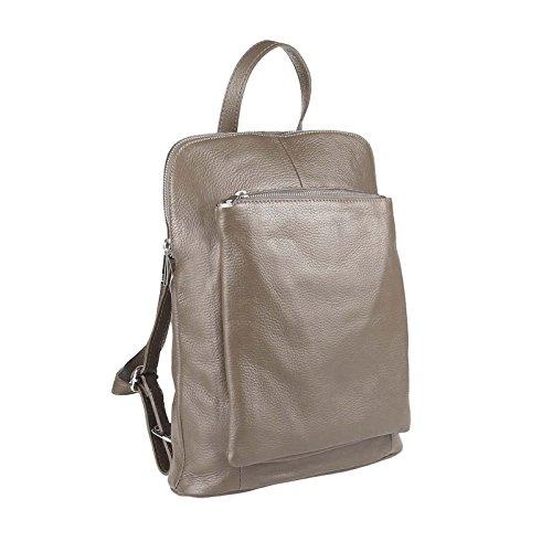OBC Made in Italy Damen echt Leder Rucksack Daypack Lederrucksack Tasche Schultertasche Ledertasche Handgepäck Nappaleder Taupe