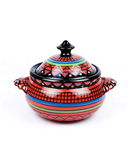 Nagina International Traditional Hand Painted Beautiful Porcelain Ceramic Multipurpose Bowl with Lid | Dinnerware Bowls & Accessories -