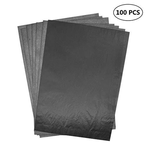 Xibin 100 Blätter Carbon Transferpapier Kohlepapier Kopierpapiere Blatt Kohlepapier Schwarz DIN A4 Pauspapier Durchschreibepapier